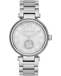Michael Kors Mid-Size Silver Color Skylar Two-Hand Glitz Watch - Lyst