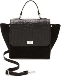 One By - Croc Embossed Colorblock Satchel - Lyst