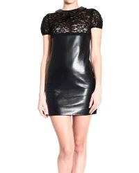 Saint Laurent Dresses Short Sleeve Leather Lace - Lyst