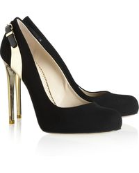 Stella McCartney Metalheeled Velvet Pumps - Lyst