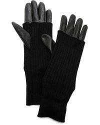 Carolina Amato Knit & Leather Gloves - Black - Lyst