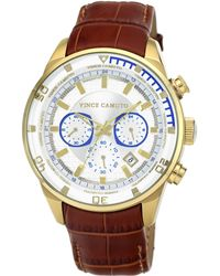 Vince Camuto - Mens Luggage Brown Crocograin Leather Strap Watch 45mm Vc - Lyst