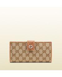 Gucci Miss Gg Original Gg Canvas Continental Wallet - Lyst