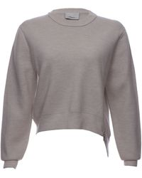 3.1 Phillip Lim Cropped Crewneck Wool Sweater with Side Zip - Lyst