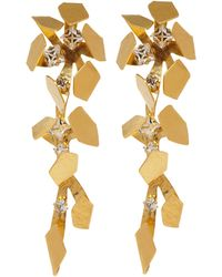 Herve Van Der Straeten Goldplated Crystal Clipon Drop Earrings - Lyst