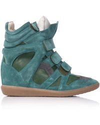 Isabel Marant Burt Suede and Leather Wedge Trainers - Lyst