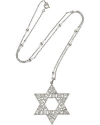 Olivia Collings - Star Of David Platinum Diamond Necklace - Lyst