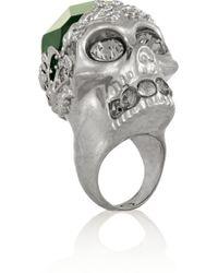 Alexander McQueen Silvertone Crystal Skull Ring - Lyst