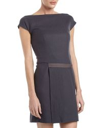Cacharel Belted Capsleeve Dress Gray 38 - Lyst