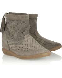 Isabel Marant Basley Perforated Suede Concealed Wedge Ankle Boots - Lyst