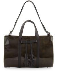 L.A.M.B. - Adette Glazed Leather Satchel Bag Black - Lyst