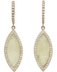 Monique Pean Atelier - Grey Sapphire & Pavé Diamond Navette Drop Earrings - Lyst