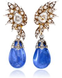 Simon Teakle - 2 in 1 Sapphire and Diamond Earrings - Lyst