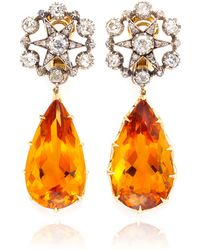 Simon Teakle - Antique 2 in 1 Citrine and Diamond Earrings - Lyst