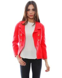 Chanel Red Boucle Jacket - Lyst