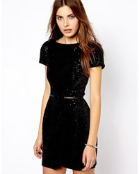 Mango Belted Sequin Dress - Lyst