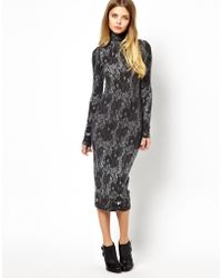 Asos Bodyconscious Dress in Textured Lace Print - Lyst