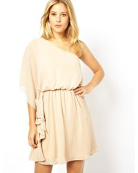 Asos One Shoulder Drape Dress - Lyst
