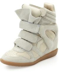 Isabel Marant Beckett Suede Wedge Sneaker Cream - Lyst
