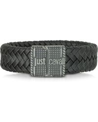 e171d1522f Just Cavalli - Rude Stainless Steel and Leather Mens Bracelet - Lyst