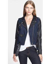 MICHAEL Michael Kors Denim Faux Leather Moto Jacket - Lyst