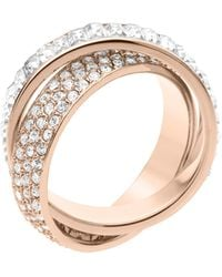Michael Kors Pavebaguette Eternity Ring Rose Golden - Lyst