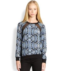 Pjk Patterson J. Kincaid - Silk Pythonprint Sheerpaneled Sweatshirt - Lyst