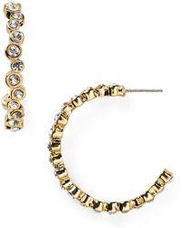 T Tahari - Classic Bezel Hoop Earrings - Lyst
