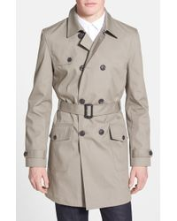 Topman Double Breasted Trench Coat - Lyst