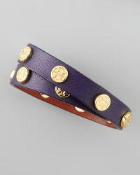 Tory Burch - Logo Studded Leather Wrap Bracelet Purple - Lyst