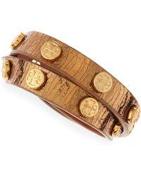 Tory Burch Logostudded Snakeembossed Wrap Bracelet Gold - Lyst
