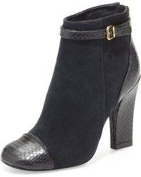 Tory Burch Gracie Suede Ankle Boot Navyblack - Lyst