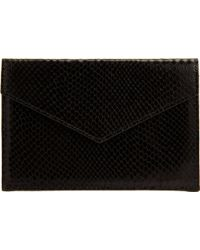 Barneys New York Python Embossed Medium Envelope black - Lyst