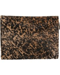 Barneys New York Ponyhair Tablet Zip Clutch animal - Lyst