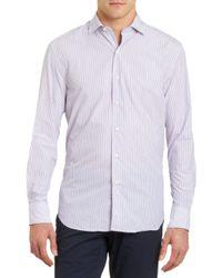 Barneys New York Striped Spread Collar Shirt - Lyst