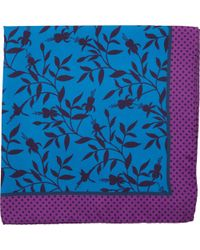Duchamp Dark Floral Print Pocket Square - Lyst