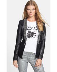MICHAEL Michael Kors Studded Placket Leather Knit Jacket - Lyst