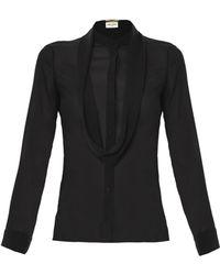 Saint Laurent Sheer Silk Blouse - Lyst