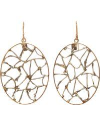 Sandra Dini - Rose Gold Silver Lattice Hoop Earrings - Lyst