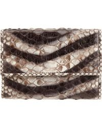 Zagliani Python Animalier French Flap Wallet - Lyst