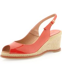 Andre Assous   Mia Patent Slingback Wedge Tangerine   Lyst
