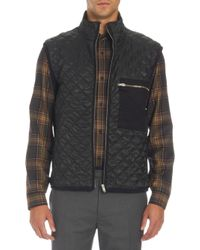 Basco - Quilted Front Flannel Back Vest - Lyst