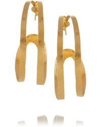 Herve Van Der Straeten - Hammered Goldplated Hoop Earrings - Lyst