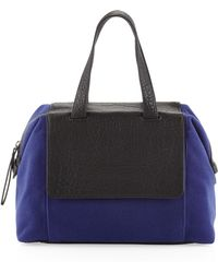 L.a.m.b. Angel Twotone Combo Satchel Bag Blueblack - Lyst