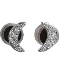 Ileana Makri - Pavé Diamond & White Gold Crescent Moon Studs - Lyst