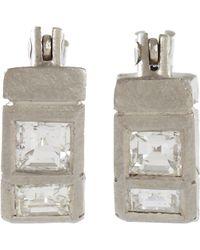 Malcolm Betts - Square Cut Diamond Hoop Earrings - Lyst