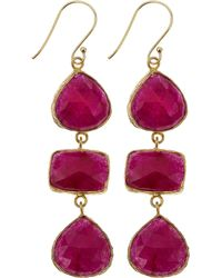 Marcia Moran - Agate Threedrop Earrings Ruby - Lyst