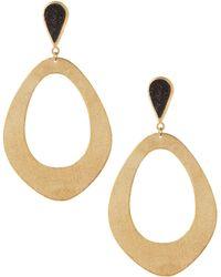 Marcia Moran - Black Druzy Open Oval Drop Earrings - Lyst