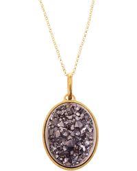 Marcia Moran - Gray Druzy Oval Pendant Necklace - Lyst
