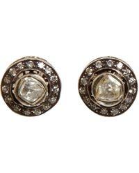 Munnu - Rose Round Cut Diamond Mini Stud Earrings - Lyst